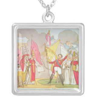 The Holy War - A Vision, satirical cartoon Square Pendant Necklace