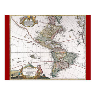 The Homanns Heirs Map of The Americas Postcard