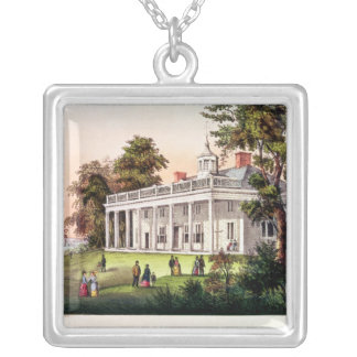 The Home of George Washington Square Pendant Necklace
