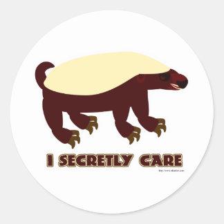 The Honey Badger Secretly Cares Classic Round Sticker