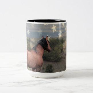 """The """"Honor"""" Mustang and American Flag Mug"""
