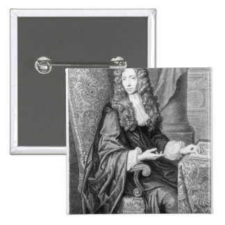 The Honorable Robert Boyle engraved by B. Baron 2 Inch Square Button
