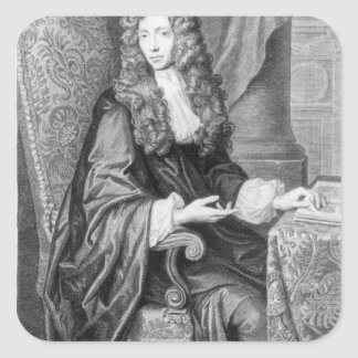 The Honorable Robert Boyle engraved by B. Baron Square Sticker