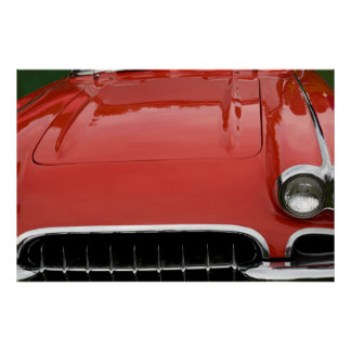 the hood of a classic red sports car poster