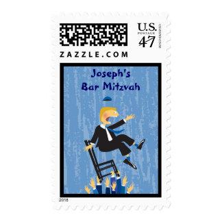 The Hora Chair Dance Bar Mitzvah Invitation Stamp