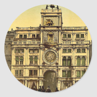 The Horologe, Venice, Italy vintage Photochrom Classic Round Sticker