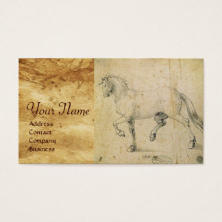 THE HORSE DRAWING ON ANTIQUE PARCHMENT  Monogram Business Card