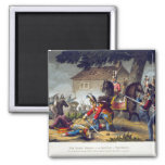 The Horse Guards at the Battle of Waterloo, engrav 2 Inch Square Magnet
