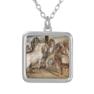 The Horse Market by Theodore Gericault Square Pendant Necklace