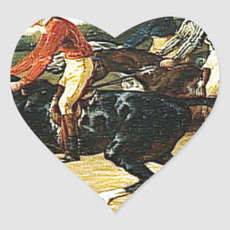 The Horse Race by Theodore Gericault Heart Sticker