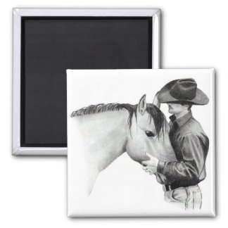 THE HORSE TRAINER #2, in Pencil 2 Inch Square Magnet
