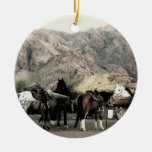 the Horses Double-Sided Ceramic Round Christmas Ornament