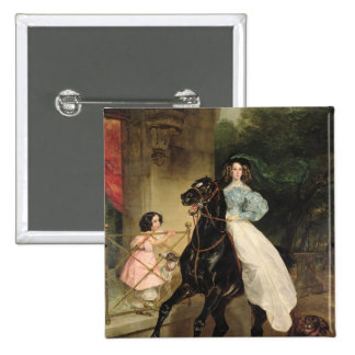 The Horsewoman, Portrait of Giovanina Pinback Button