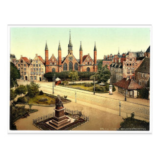 The hospital, Lubeck, Germany classic Photochrom Postcard