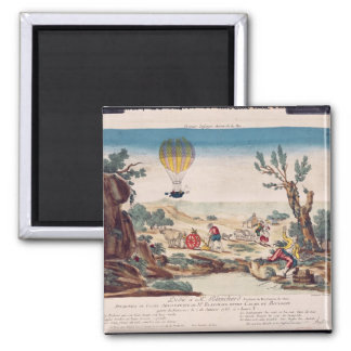 The Hot-Air Balloon of Jean Pierre Blanchard 2 Inch Square Magnet