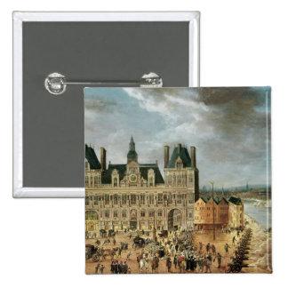 The Hotel de Ville, Place de Greve Pinback Buttons