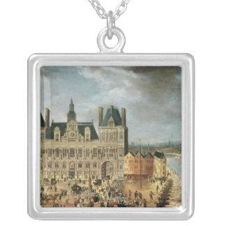 The Hotel de Ville, Place de Greve Silver Plated Necklace