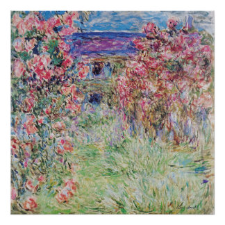 The house in the rose garden by Claude Monet, Poster