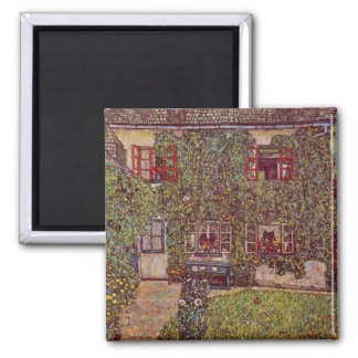 The House of Guard by Gustav Klimt 2 Inch Square Magnet
