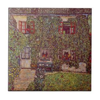 The House of Guard by Gustav Klimt Small Square Tile
