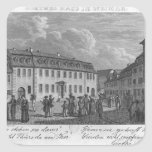 The house of Johan Wolfgang von Goethe  in Square Sticker