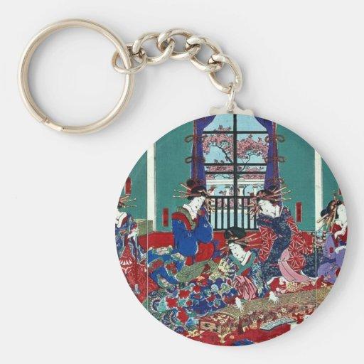The house of Kinpeiro by Utagawa,Yoshitora Keychains