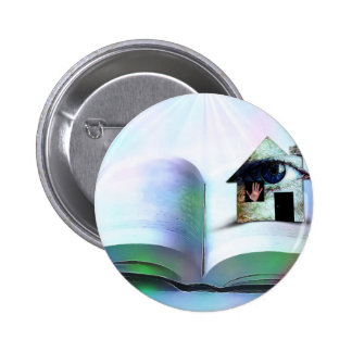 The house with an eye in open book pin
