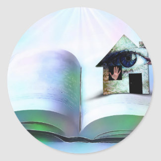 The house with an eye in open book classic round sticker