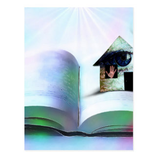 The house with an eye in open book postcard