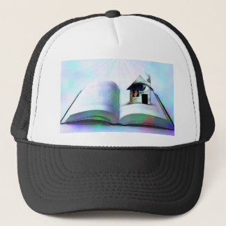 The house with an eye in open book trucker hat
