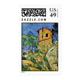 The House With Cracked Walls By Paul Cézanne Postage Stamps