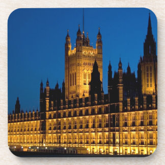 The Houses of Parliament at night in the city of Beverage Coaster