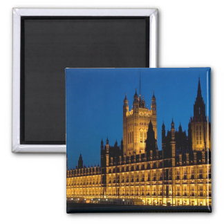 The Houses of Parliament at night in the city of Fridge Magnets