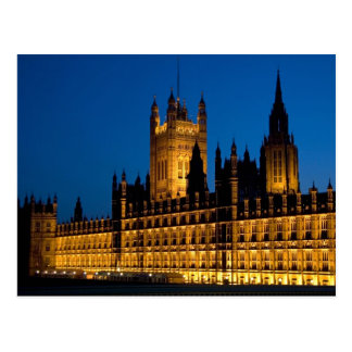 The Houses of Parliament at night in the city of Postcard