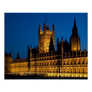 The Houses of Parliament at night in the city of Poster