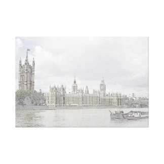 The Houses of Parliament sketch Canvas Print