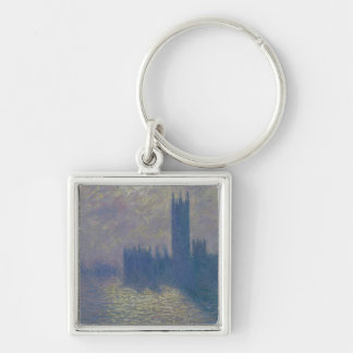 The Houses of Parliament, Stormy Sky, 1904 Silver-Colored Square Keychain
