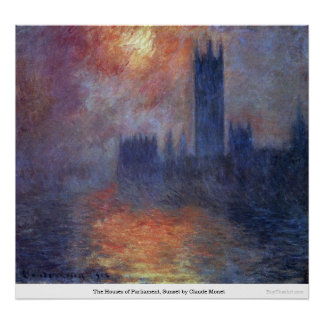 The Houses of Parliament, Sunset by Claude Monet Poster