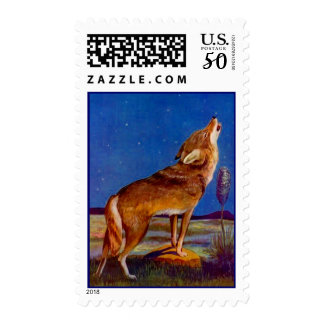 THE HOWLING COYOTE STARLIT NIGHT SW~ POSTAGE STAMP