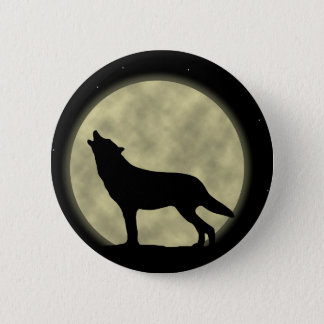 The Howling Wolf in the Night Pinback Button