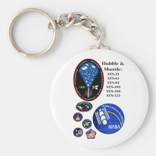 The Hubble Telescope and the Shuttle Basic Round Button Keychain