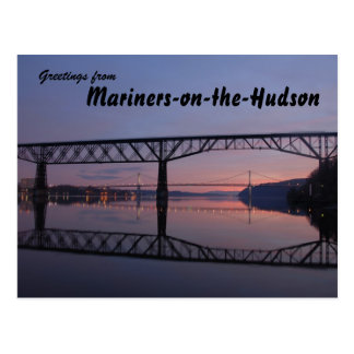 The Hudson River Walkway, sunset greetings Post Card