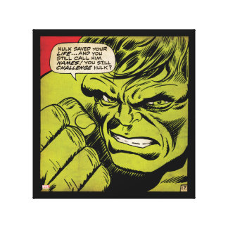 "The Hulk ""Challenge"" Comic Panel Canvas Print"