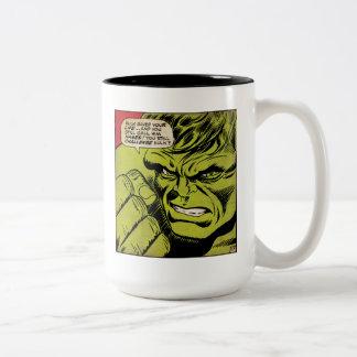 """The Hulk """"Challenge"""" Comic Panel Two-Tone Coffee Mug"""