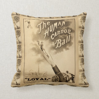 The Human Cannon Ball Vintage Circus Act Throw Pillow