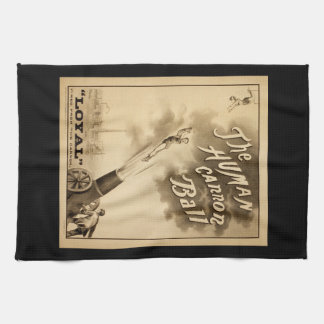 The Human Cannon Ball Vintage Circus Act Victorian Hand Towel
