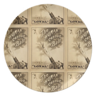 The Human Cannon Ball Vintage Circus Act Victorian Melamine Plate