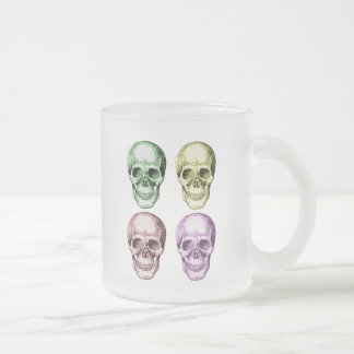 The human skull, in four colors frosted glass coffee mug