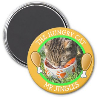 THE HUNGRY CAT Humorous Pawprints Photo Button