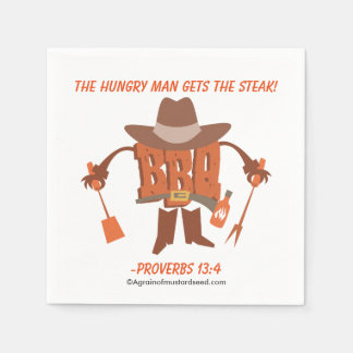 The hungry man gets the steak Proverbs 13:4 Standard Cocktail Napkin